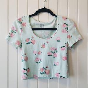 Girls/Womens Mint & Floral Scoop Neck Crop Top Tee
